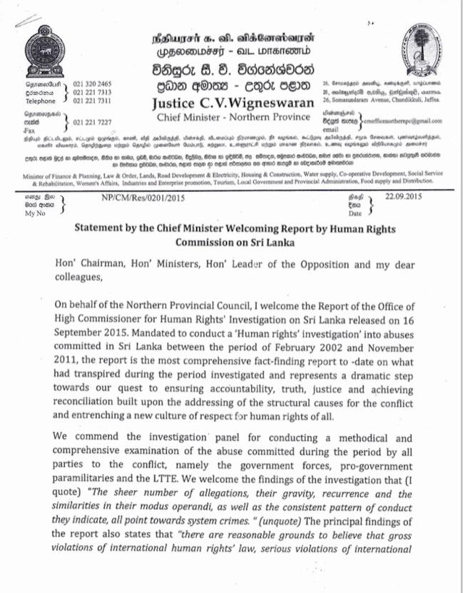 C.V. Wigneswaran on the UN report on war crimes