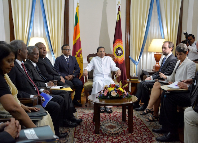 Zeid Ra'ad Al Hussein called on President Sirisena