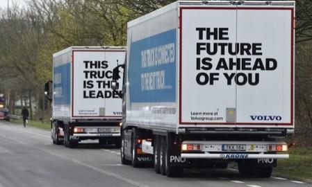 A convoy of driverless trucks