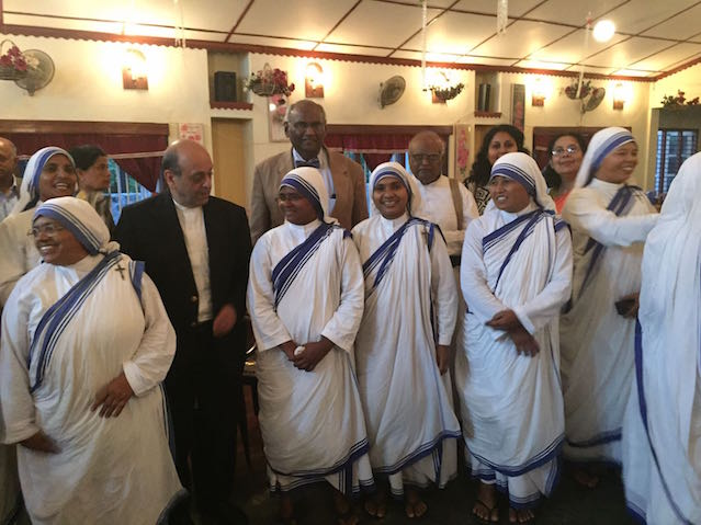 Navin Chawla and the Hooles with the Sisters of Charity from Jaffna and Vavuniya