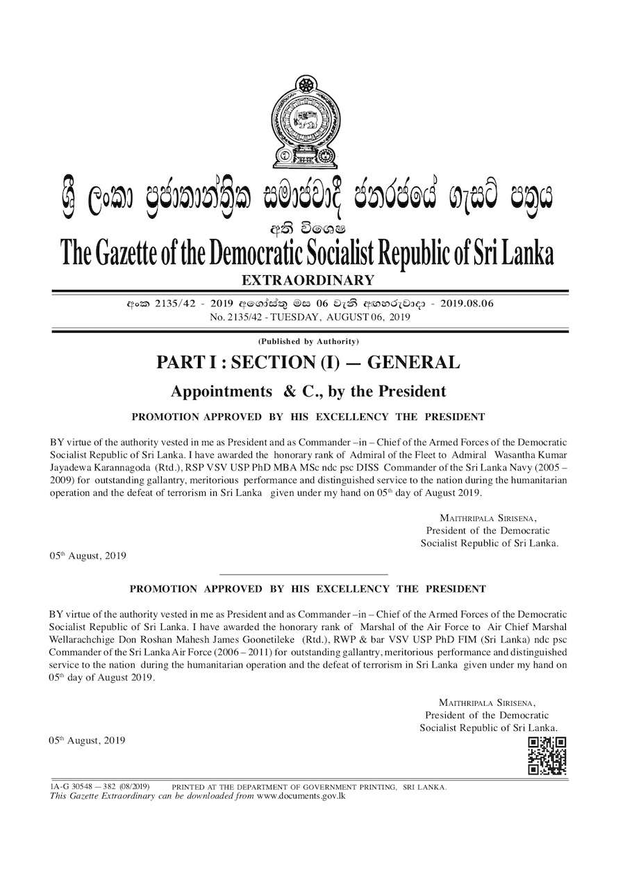 Sirisena Awards Lanka's Highest Military Ranks To Mass Murder And