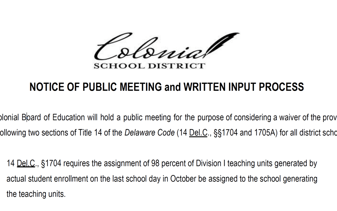 Notice of Public Meeting: Class size waiver