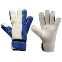 cream and blue gloves