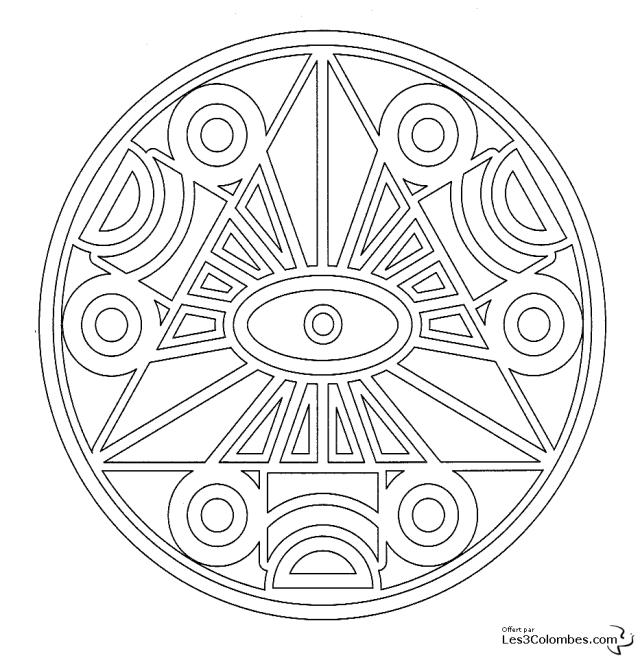Coloriage mandala triangle à imprimer