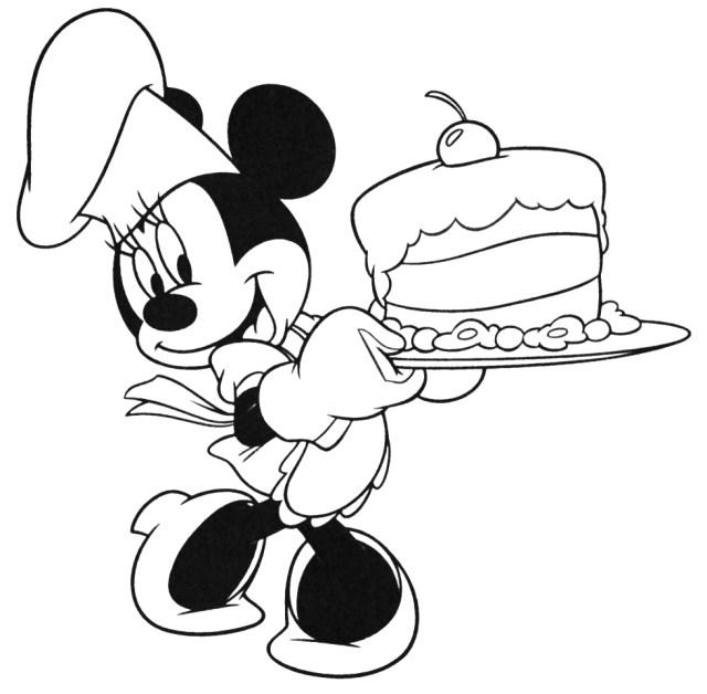 Coloriage Minnie anniversaire à imprimer