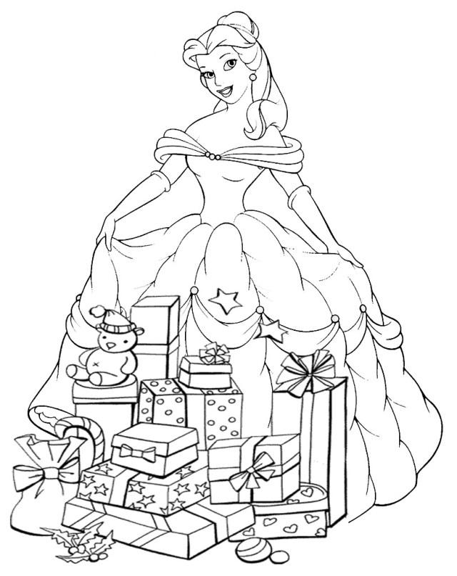 Coloriage Princesse Disney à Noël à imprimer
