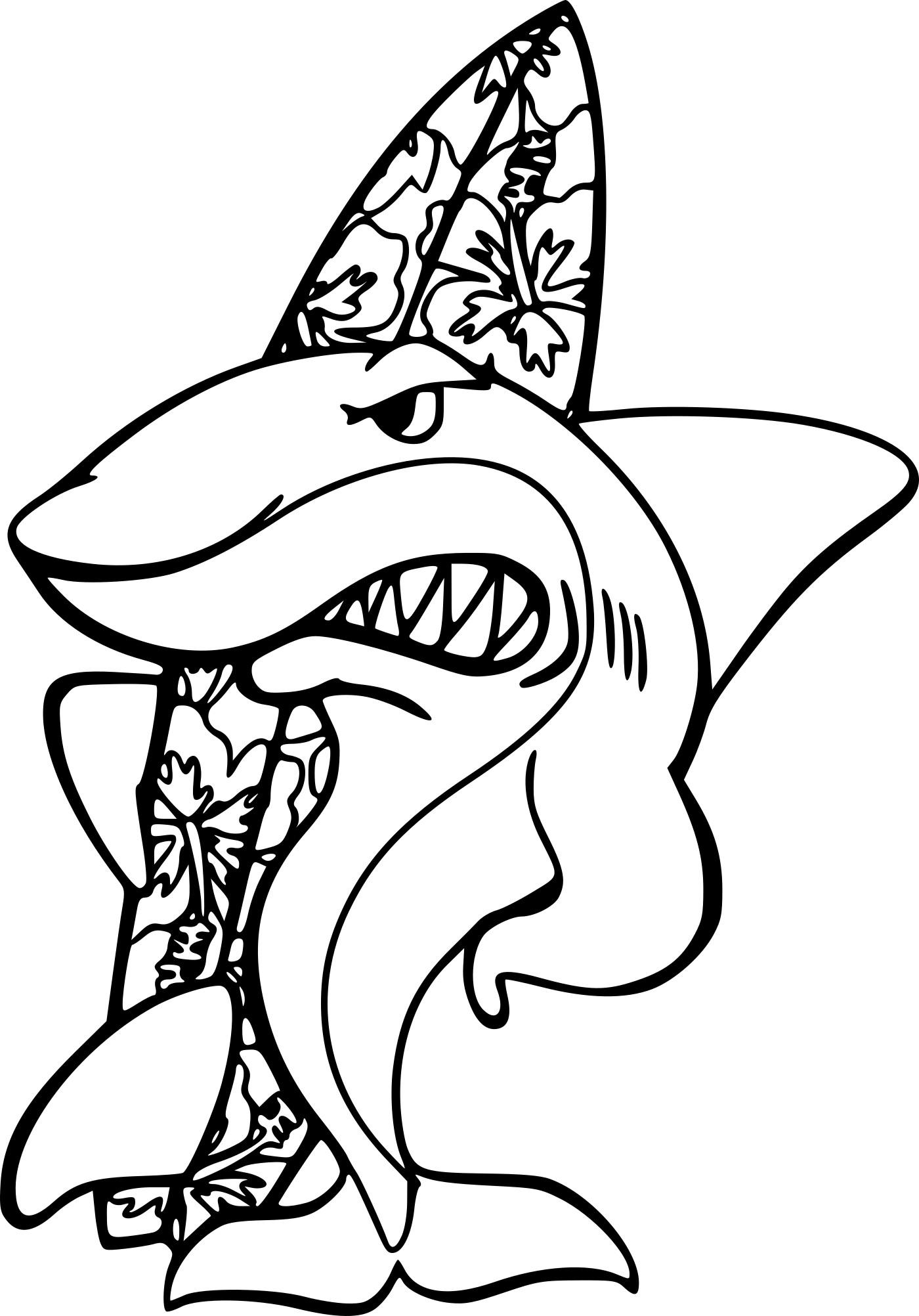Coloriage Requin Fait Du Surf Imprimer