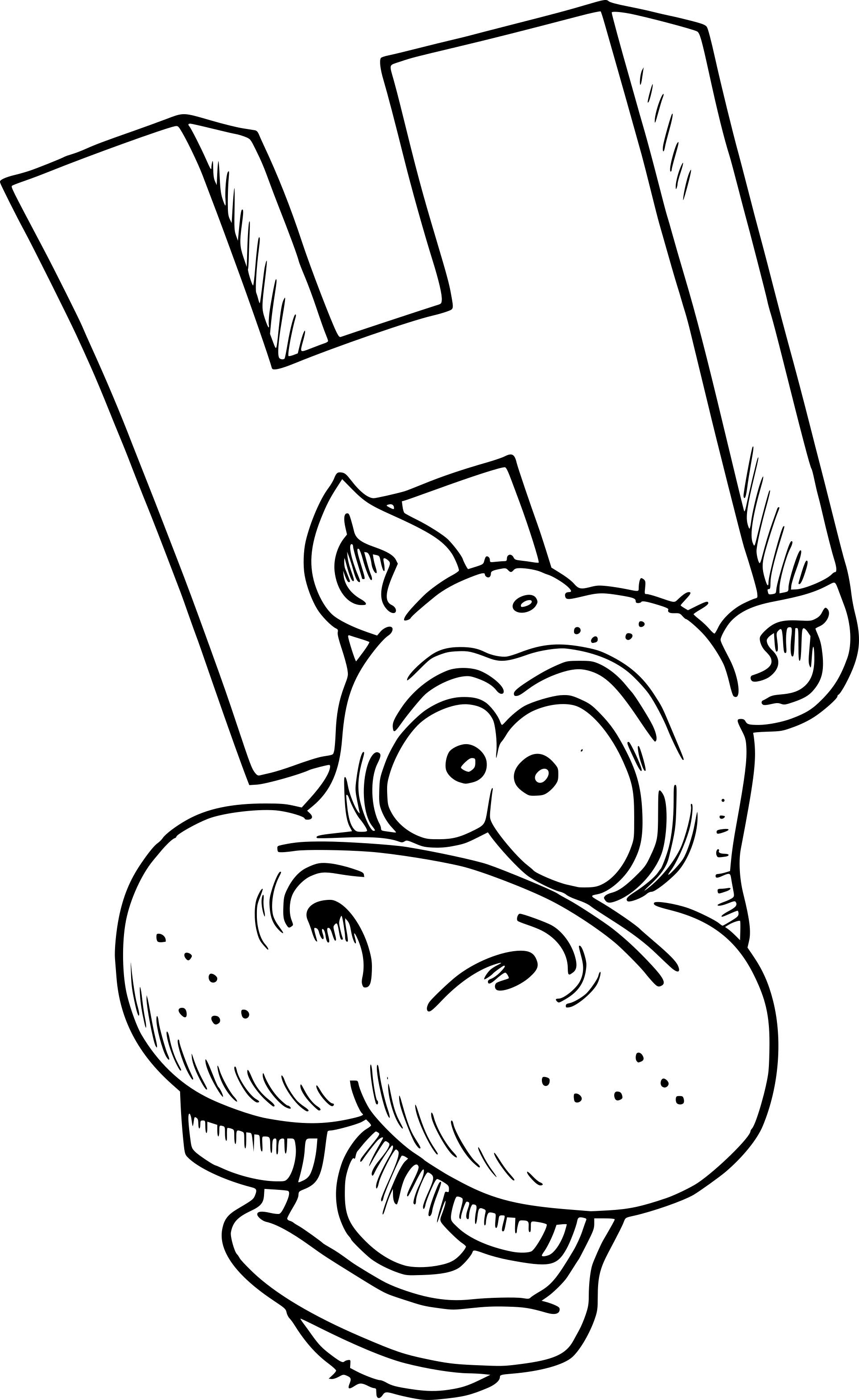 Coloriage H Comme Hippopotame A Imprimer