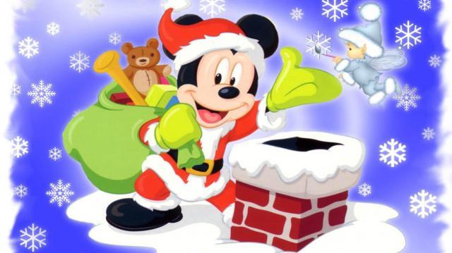 Coloriage Mickey Noel à imprimer