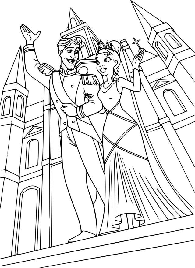 Coloriage Tiana et Prince Naveen à imprimer