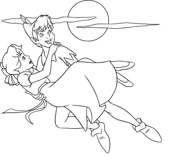 Coloriage Wendy et Peter Pan à imprimer