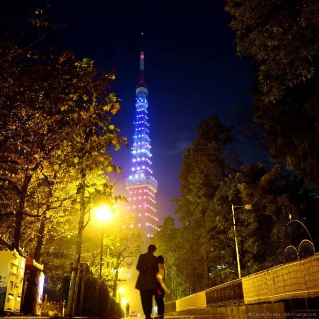 tour de Tokyo en bleu-blanc-rouge
