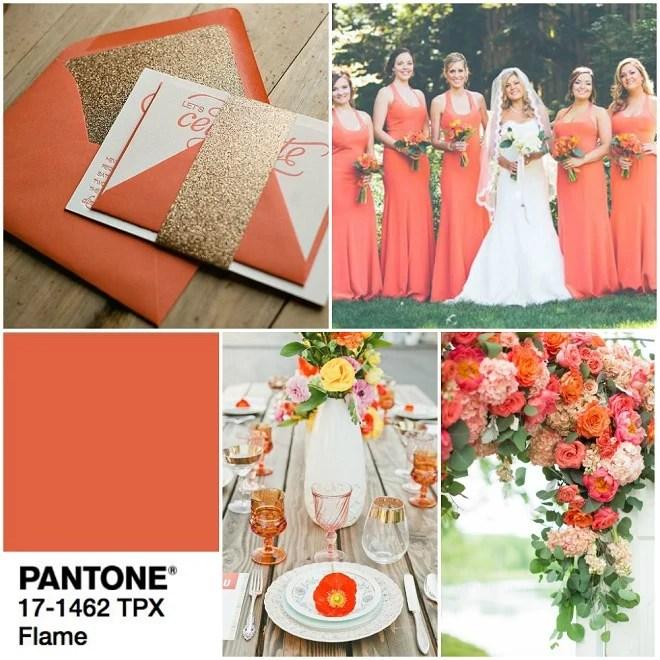 pantone Flame orange for summer weddings