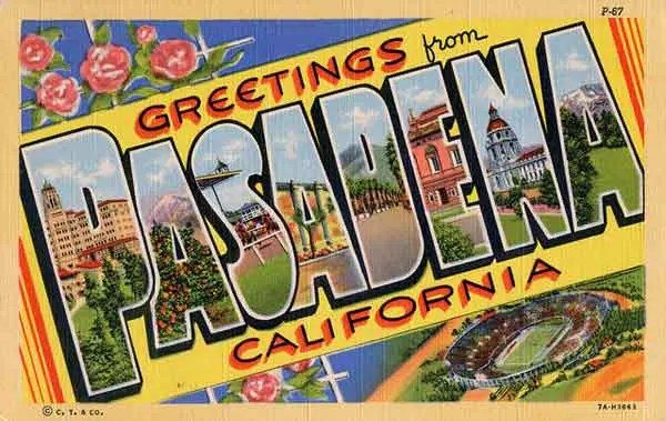 An old postcard from pasadena with drawn images on it