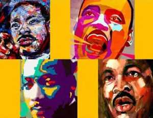 A collage of photos of MLK