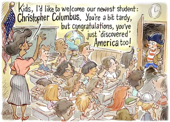 A kid derssed as columbus enters a class filled with indigineous people