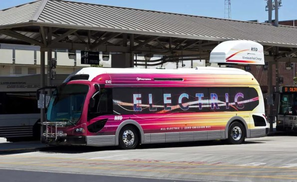 A battery electric Proterra BE35 bus shown next to its charging stationn (Photo - SanJoaquinRTD).