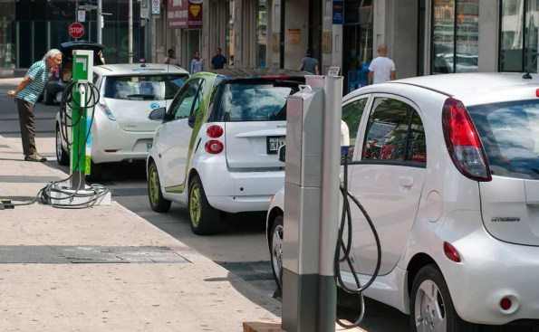 Electric cars pluged in