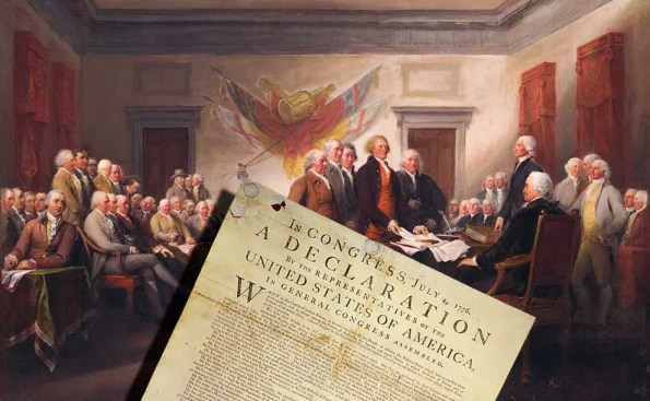 Forefathers of United States of America gather to sign the Declaration of Independence