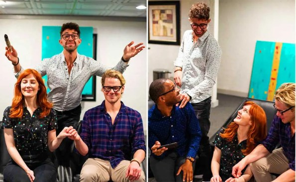 2 composite photos: 1st one one guy raising his hands while a man and a woman are sitting down holding hands. The 2nd photo is of same guy laughing while one African America guy and one white guy are laughing with a red haired woman.