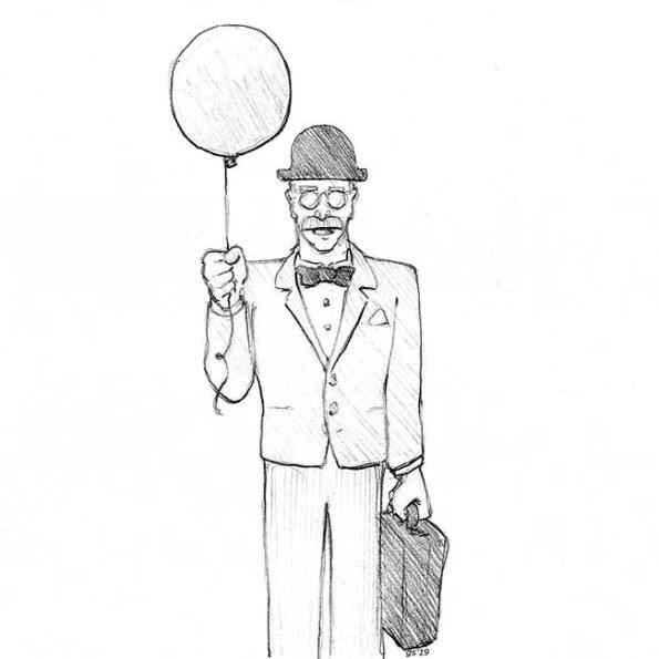 An older gentelman holding a balloon in his hand
