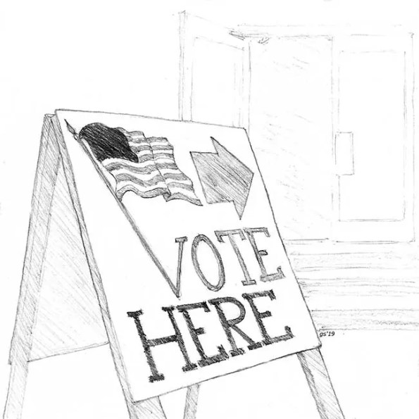 A voting booth with the words: Vote Here