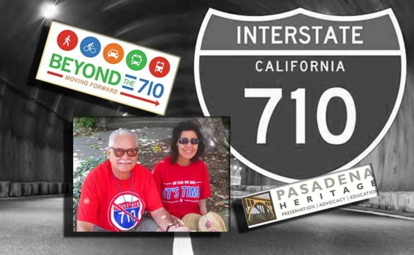 A composite of 710 sign, a tunnel and two logos and one photo of a man and woman wearing red NO 710 t-shirts