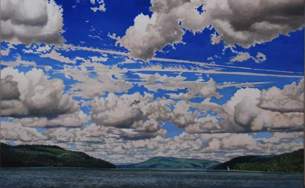 a paiting of water, mountains and lots of intricate clouds