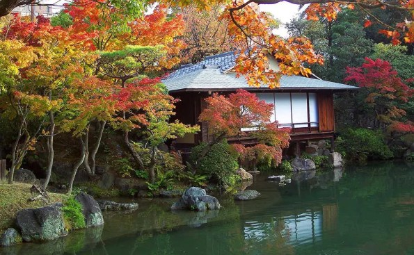 A teahouse by a lake
