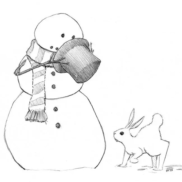 a snow man is giving his hat to a bunny witha hump