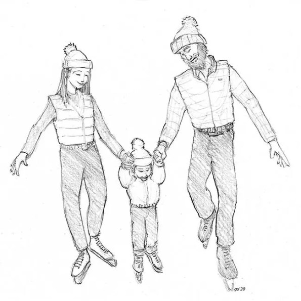 husband and wife hold child by hands to walk
