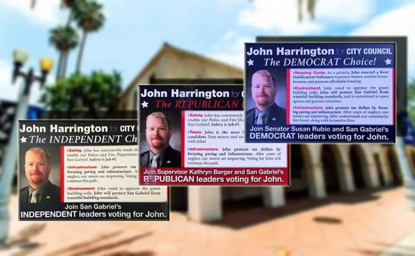 3 different mailers with 3 different affiliationsof Democrat, Republican and Independent
