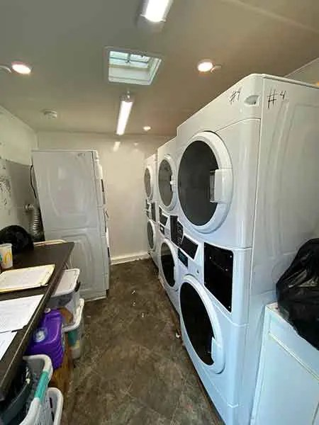 Laundry machines inside a truck