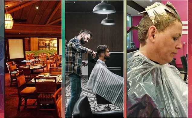3 photos of an empty restaurant and hair cutting