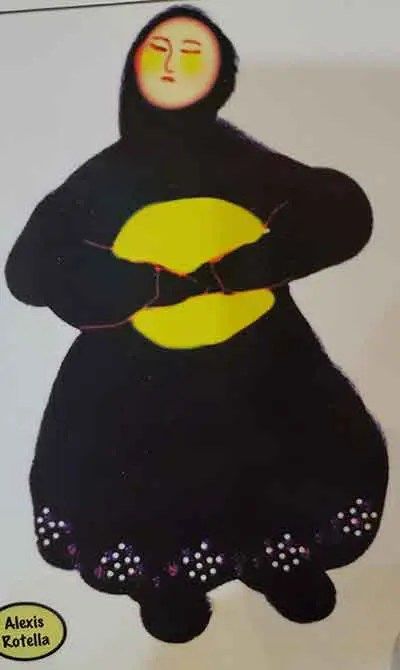 A woman clad in black with a yellow circle on her chest and yellow cheeks