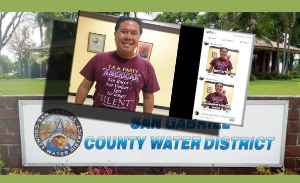 A social media page with photo of an Asian person and building of Water District behind