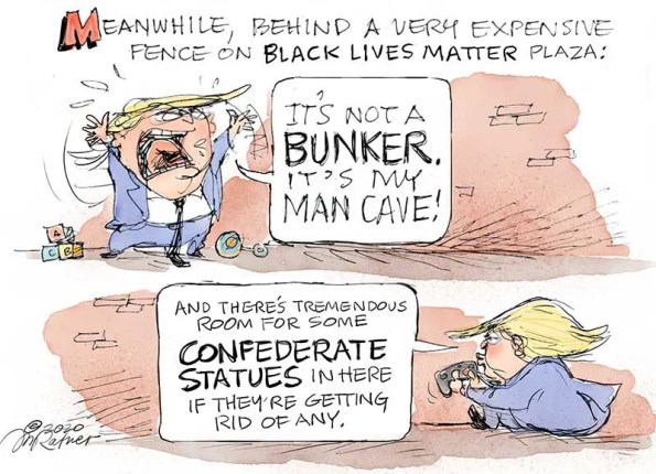 An orange colored peson rantingcalling a bunker a man cave