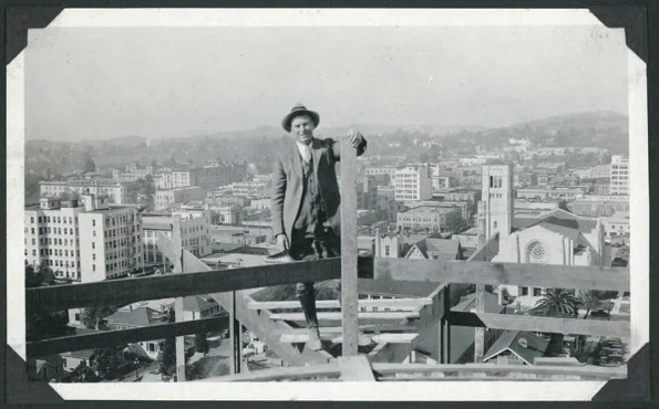 Man on top of a buidling in construction