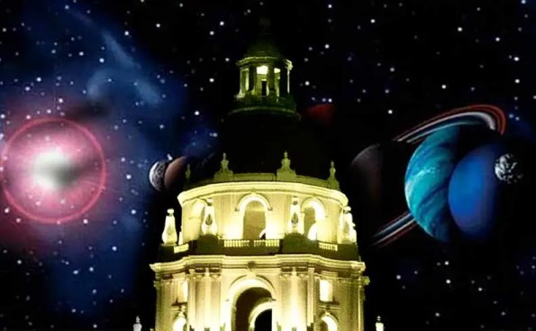 dome with planets behind it