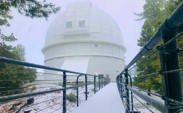 Snow covering a dome and grounds around it