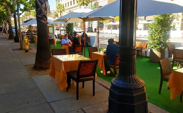 outdoor tables and umbrellas