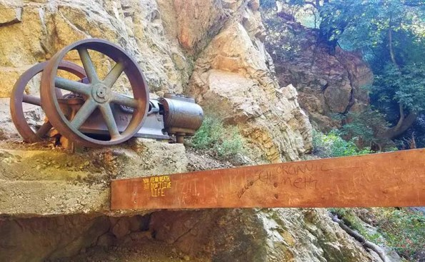 old rusty equipement on a cliff