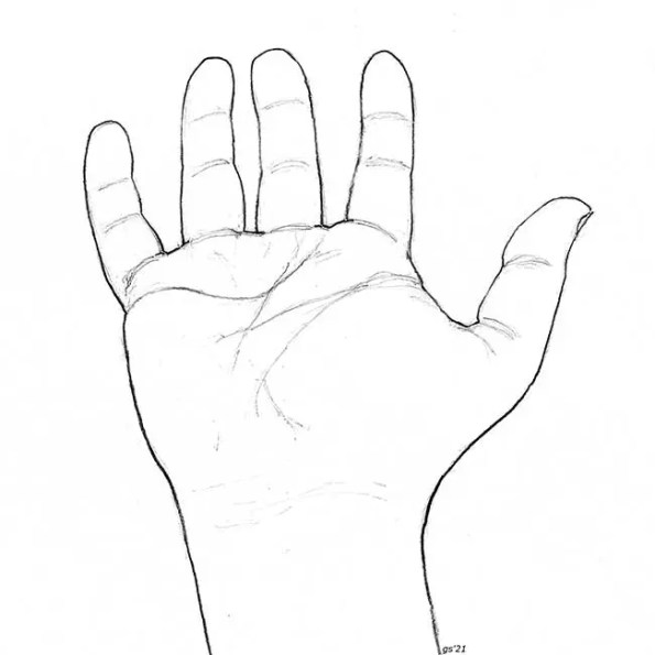 a hand extended and open palm