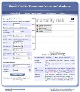 CancerMath.net (shown here) and other websites include tools that providers and patients can use to calculate their prognoses based on cancer types, comorbidites and treatment options.