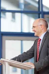 man speaking smiling