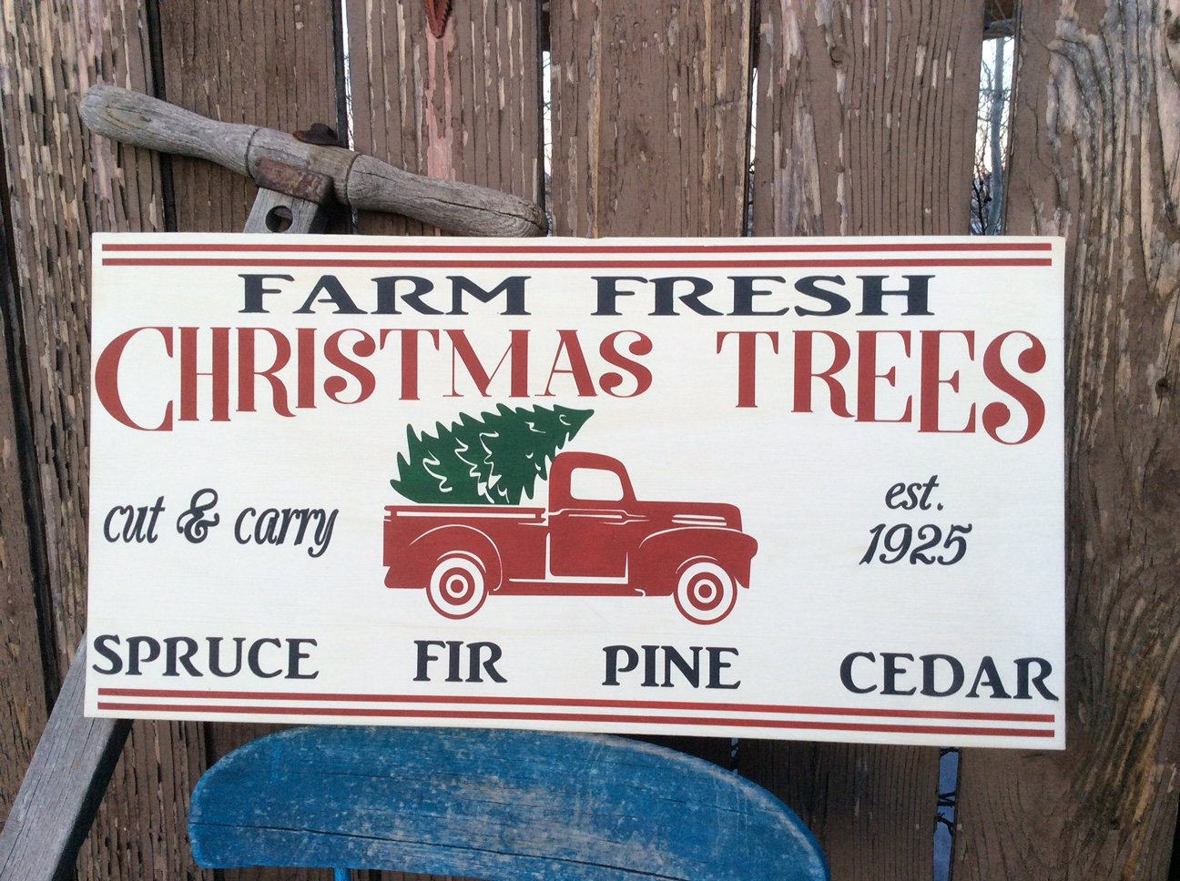 Fresh Cut Christmas Trees Sign.Red Truck Farm Fresh Christmas Tree Sign