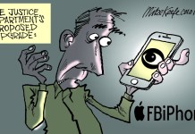 Political cartoonist MIke Keefe looks at the Apple iPhone and FBI sqaubble.