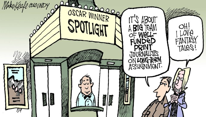 Spotlight, a film about well-funded, long form print journalists, is given the
