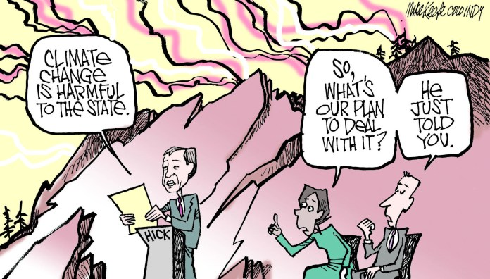 Colorado's climate change plan lacks a plan. Mike Keefe's political cartoon.