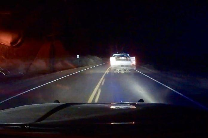 Still shot from the dashboard camera on former Rangely Police Lt. Roy Kinney's patrol car as he chased Daniel Pierce through the desert. The December 10, 2018 pursuit ended when Kinney fatally shot Pierce.